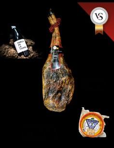 Cesta gourmet de ibéricos extremeños: paleta de bellota iberica, queso y vino