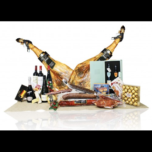 Cesta de navidad de lujo con productos extremeños