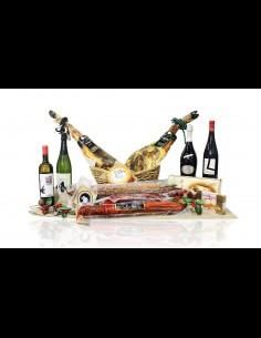 Cesta de navidad con 2 jamones + embutidos + quesos + vinos y dulces