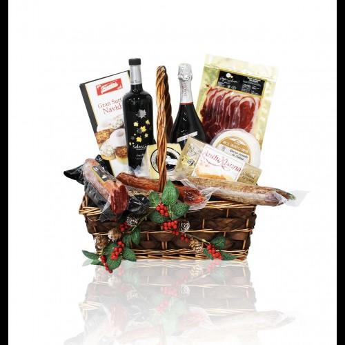 Lote navideño con productos ibéricos con embutidos ibéricos queso y vino